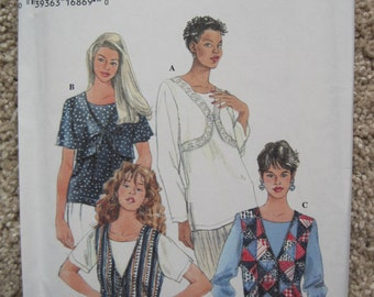UNCUT Misses Set of Tops - Size 6 to 10 -Simplicity Sewing Pattern 9663 - Vintage 1995