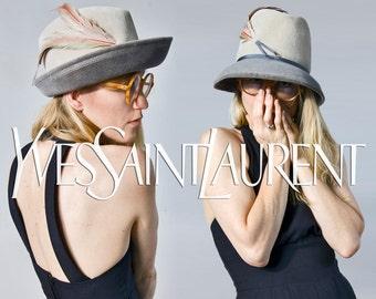 60s *Designer* Yves Saint Laurent grey wool & feather hat