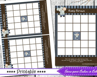 Baby Shower Bingo Game Card Elephant - Baby shower game - Baby bingo - printable - baby bingo elephant - pdf printable - digital file