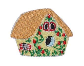 ID 3123C Flower Bird House Patch Nest Nature Watch Embroidered Iron On Applique