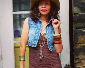 RARE  Vintage 1970s bohemian cotton crochet maxi dress w/jacket bolero