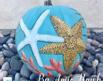 Sea Star Duos Pumpkin - Hand Painted Coastal Art