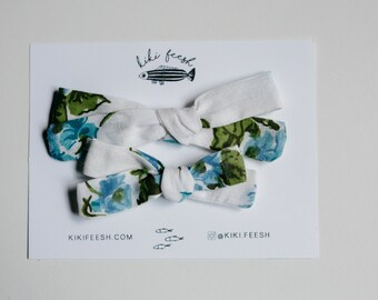Mae - Vintage Floral School Bow - toddler bow - baby headband - baby bow - hand tied bow - fabric bow
