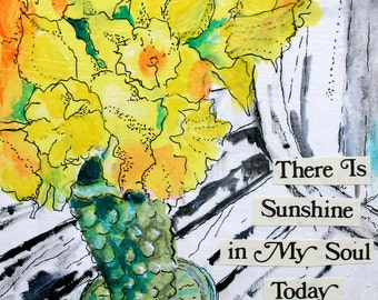 """There is Sunshine 8""""x8"""" PRINT of my original mixed media floral Daffodil painting Sprint art"""