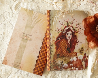 Notebook - Illustrated notebook - A6 - Forest Girl