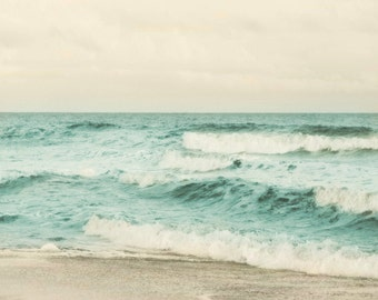 Beach Soft Dreamy Art Print - Aqua Sepia Tan Ocean Summer Beach House Wall Art Home Decor Photograph