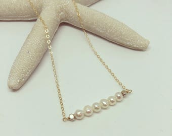 GOLD pearl Bar Necklace, Pearl Necklace