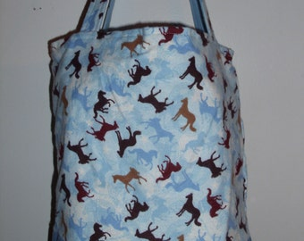 Handmade tote bag, diaper bag, horses, pony, country, farm, riding,   Spring Cleaning sale was 15.00 Now 10.00