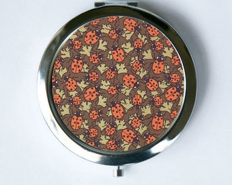 Art Nouveau Ladybugs Compact Mirror Pocket Mirror design Pattern