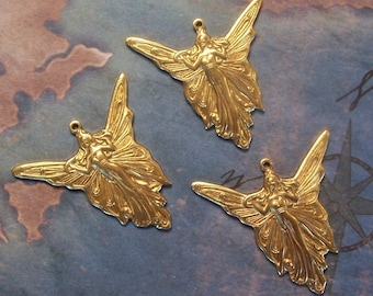 2 PC Brass LARGE Nouveau Butterfly Fairy Finding  - N0310