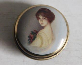 """Vintage Belgian candy box """"Violet cachou"""" with woman's portrait"""