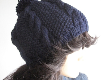 Navy Cable and Seed Stitch Knit Hat with Pom Pom, Vegan Knits, Knitwear, Hats Women, Pom Pom Hat, Navy Slouchy Beanie Hat, Knit Pom Beanie