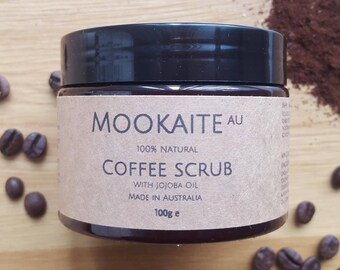 100% Natural Coffee Scrub with Jojoba Oil// Made in Melbourne// MookaiteAU