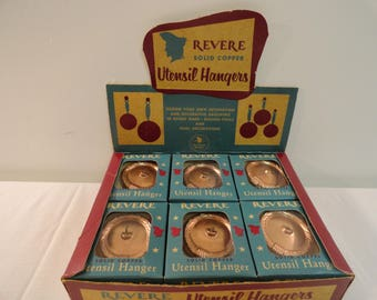 Set Of 6 Revere Solid Copper Utensil Holders In Original Boxes And Packaging