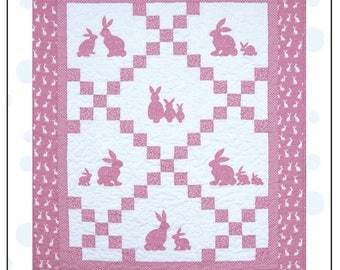 Bunny Love Quilt Pattern Sizes For Baby Crib and Single Quilt Size With Applique Bunnies