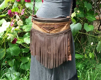 Leather fringe purse