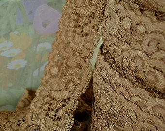 3yds Stretch Lace Trim Elastic Ribbon Coffee Brown 1 1/4 inch Baby Headbands, lingerie Edging Lace Trim by the yards Bra Making supplies