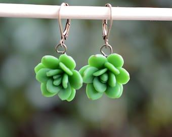 Green succulent Earrings, Succulent Earrings, Succulent Wedding theme Jewelry, Succulent Flower Earrings