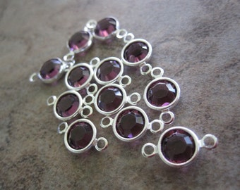 12 Swarovski Crystal with Silver-Plated Brass Links, Amethyst, 6.14-6.32mm Faceted Round - JD57