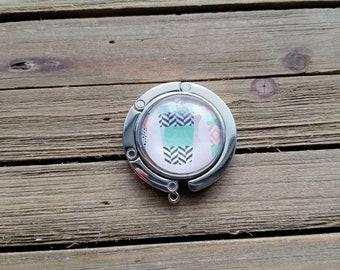 Silver Foldable Purse Hook - Coffee Tumbler Print - Purse Hanger - Handbag Hook