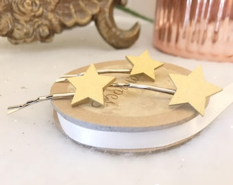 Set of 3 Gold Stars Star Hair Clip Bow Slide Accessories