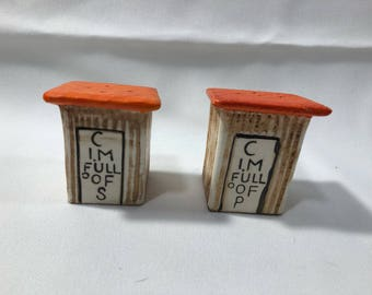 Vintage Salt and Pepper Shakers OUTHOUSE Kitchy Cute Ceramic Hand Painted Cork Plugs 1950's