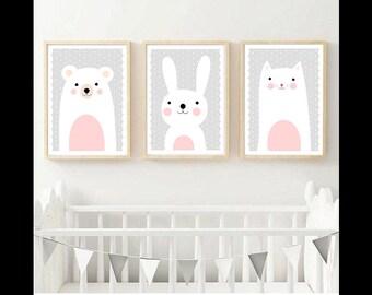 Set of Three Nursery Art Prints , Kids Wall Art, Animals, Kids room