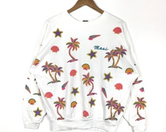 Vintage HAWAII MAUI Printed Full Print Coconut Tree Beach White Crew Neck