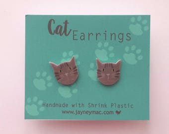 Tabby Cat Shrink Plastic Earrings