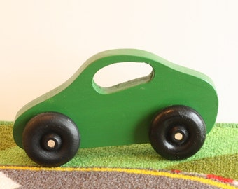 Toy Green Car - Handcrafted Wooden Green Toy Car - First Birthday - Perfect first toy for little hands - Nursery decor - Baby shower gift -
