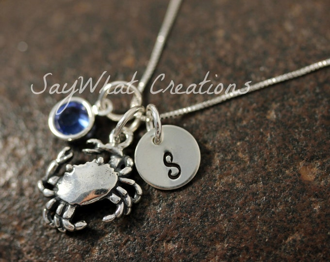 Sterling Silver Mini Initial Hand Stamped Crab Charm Necklace