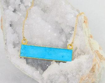 Turquoise Necklace - Gemstone Bar Necklace - Stone Bar Necklace - Rectangle Stone Necklace - Statement Necklace - Raw Stone Necklace