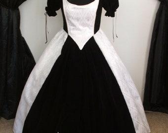 1800's Reenactment Civil War Ball Gown, Corset Bodice Skirt