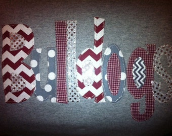 Hand Made Applique Bulldogs t shirt or sweatshirt in adult and children sizes