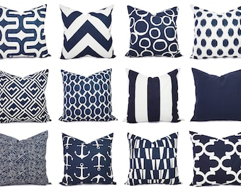 Navy Pillow Covers - One Navy and White Throw Pillow Cover - 20 x 20 Inch Navy Blue Pillow Cover - Decorative Pillow Navy Blue Pillows