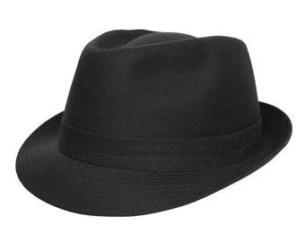 Classic Trilby -  Handmade - Lightweight Black Cotton Hat