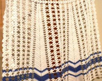 vintage apron ...BLUE Hand CROCHET vintage APRON 1 ...