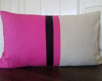 Pink Color Block Pillow Linen Pillow Modern Home Decor Linen Colorblock Pillow Decorative Pillow Throw Pillow Minimal Home Decor Pillows