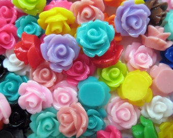 40 Pcs  - 10mm Rose Cabochons - Assorted Colours