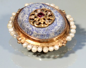 Antique Brooch18k Yellow Gold Brooch Sodalite Brooch True Pearls Brooch Small Ruby Victorian French Jewelry