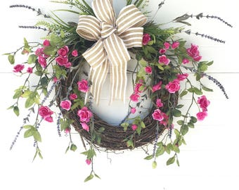 Spring Wreath, Summer Wreath, Everyday Wreath, Mother's Day Wreath, Front Door Wreath, Farmhouse Wreath, Cottage Wreath, Roses Wreath