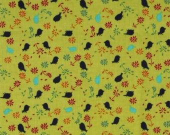Free Spirit fabric, lime green with birds, Valori Wells, Bridgette Lane