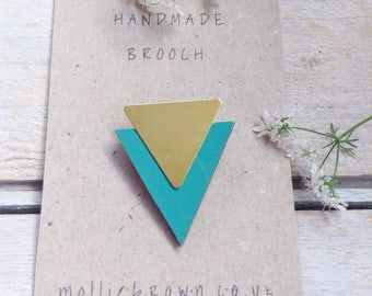 Triangle Brooch/Geometric Brooch/Triangle jewellery/Geometric Jewellery/Laser cut wood and Brass/gift for her/gift ideas/turquoise brooch