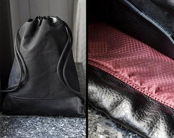 Black Drawstring Bag - Drawstring Backpack - Canvas Backpack - Canvas Drawstring Backpack - String Book Bag - School Bag - Black Back Pack