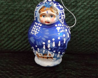 Blue Russian Doll Blown Glass Christmas Ornament- 3""
