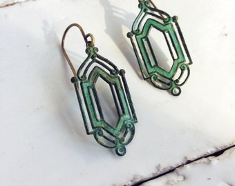 Art Deco Earrings Verdigris