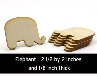 Unfinished Wood Elephant - 2-1/2 inches wide andby 2 inches tall and 1/8 inch thick wooden shapes (ELEP01)