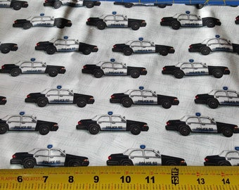 Police Cars Fabric - 1 Yard Cut by Quilting Treasures