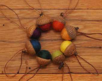 Rainbow Felted  Acorn Ornaments Set of 8, also available without hangers