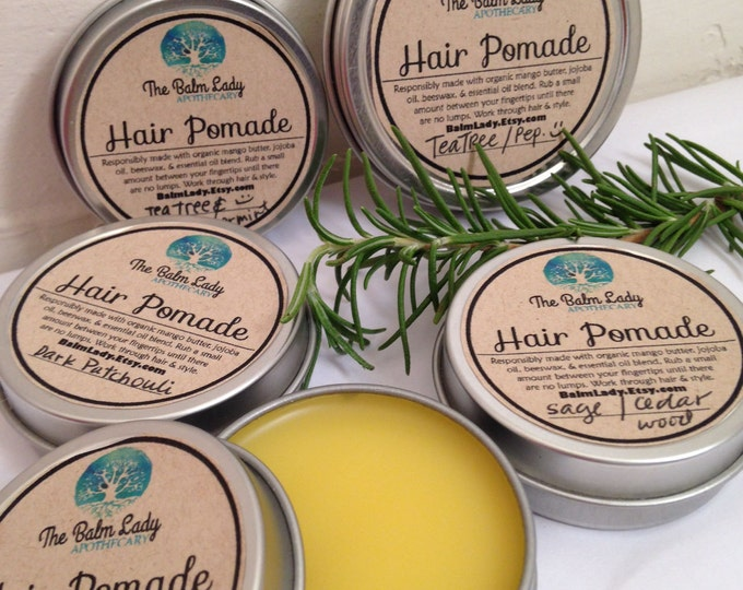 All Natural Hair Pomade Custom Scent | Grooming Wax, Hair Styling, For all Hair Types | Women's Men's Children's Hair Styling Pomade Wax